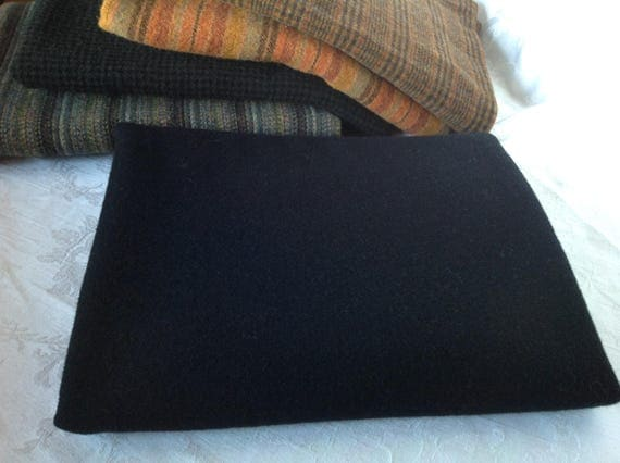 Plain Black Wool Fabric, Fat 1/4 yard, for Rug Hooking and Applique, W315, Solid Black Wool Fabric