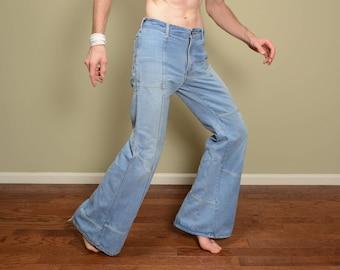 vintage 70s bellbottom jeans Brittania patchwork flare 1970 jeans hippie boho pants distressed light denim 32 waist 32x34 long tall