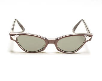 vintage 50s cat eye sunglasses American Optical USA copper metallic stripe sunglasses gray lens 1950 eyewear rockabilly