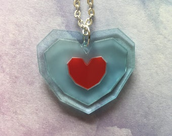 Zelda Piece of Heart Laser Cut Gaming Heart Container Necklace