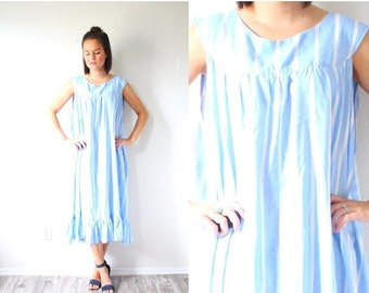 30% OFF VALENTINES SALE Vintage blue vertical striped night gown // blue summer dress // sleeveless dress // nautical striped dress // retro