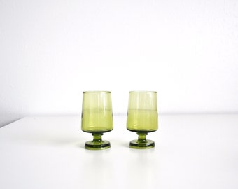 """Pair of Small 4"""" Green Glass Glasses"""