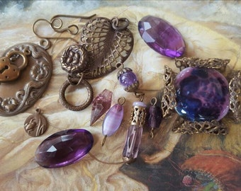 Vintage DECO Amethyst Czech Art Glass & Enamel Pendants and Pieces UPCYCLED Lot