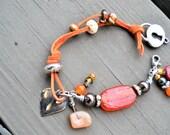 RUST SUEDE Carnelian Orange Vintage Glass Focal Heart Charm Bracelet