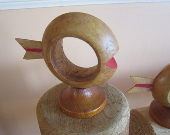 set of 8 napkin rings 50's wooden fish napkin rings,