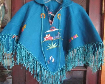 childs wool embroidered poncho mexico, childrens clothes,