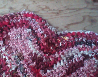 Crocheted Red Heart Rag Rug