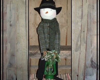 Sale Tall Primitive Folk Art hand embroidered rag doll snowman carrot nose HAGUILD hafair OFG faap green country lantern AFTERXMASFAAP