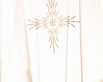 Chasuble Clergy Easter Christmas Communion Vestment Maltese Cross Gold Decoration Priest Minister Pastor Gift Guide Men Women Unfinished
