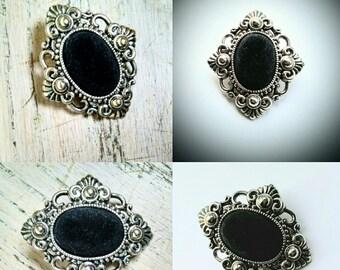 Vintage Filigree Brooch Silver Tone Black Velveteen Jewelry Jewellery Wedding Sash Diamond Shape