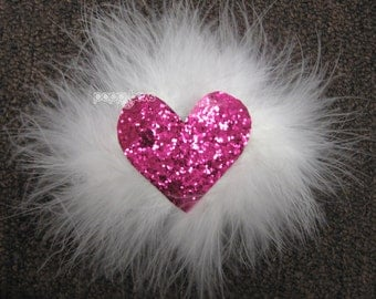 Valentines day hair bow, valentine hair clip, white marabou feather, pink heart hair clip, sequin hair clip, baby girls 4 inch ae-fluff-hrt