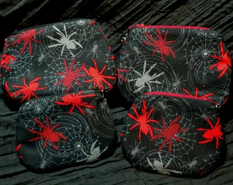 large or small spider print zippered purse fully lined UK seller