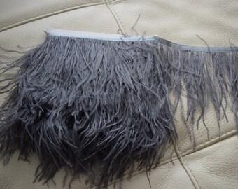 10 yards Ostrich Feather Fringe trim 10-15 cm (4-6 inch), grey