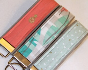 Key fob, Key chain, Wristlet - Teal, Peach and Seafood - Select One