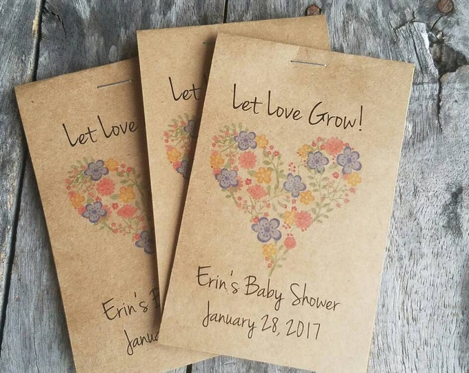 Brand New! RUSTIC Heart Wildflower Design - Seeds Let Love Grow Flower Seed Packet Favor Shabby Chic Cute Favors for Bridal Shower Wedding