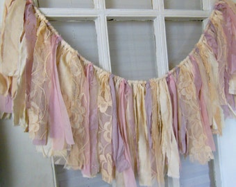 shabby window swag, fabric banner, high chair garland,  pink, lavender, 1st birthday, photo backdrop, wedding  shower decor, 31 X 11