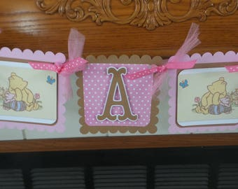 Winnie the Pooh Baby Banner, Pooh It's A Girl Banner, Classic Pooh Shower Banner, Gender Reveal Pink and Brown Pooh and Friends Baby Banner,