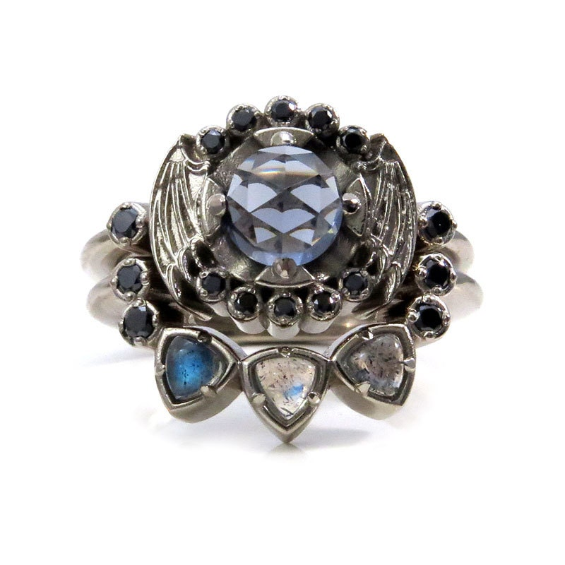 Gothic Engagement Ring Set with Bat Wings Blue Grey Quartz and