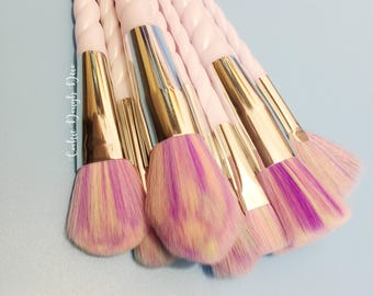 FREE SHIPPING - 10 Spiral horn Makeup Brushes Brush Set GEL Pearly unicorn lovers!
