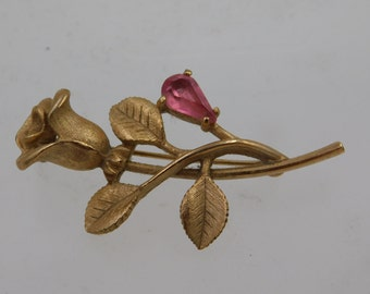Vintage Avon Signed Rose Flower Brooch Pin Pink Teardrop Rhinestone Gold Tone
