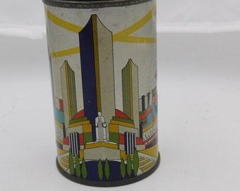 1934 Chicago Worlds Fair Century of Progress Worlds Fair Tin Litho Can Canco    Box D