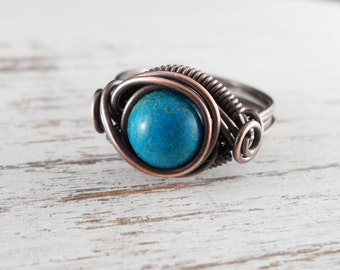 Wire Wrapped Ring Turquoise Imperial Jasper Copper Ring Dragons Eye Ring Wire Wrapped Jewelry Copper Jewelry Turquoise Ring