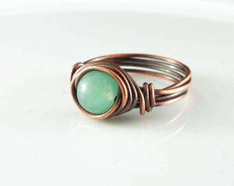 Wire Wrapped Ring Aventurine Ring Copper Ring Wire Wrap Jewelry Mint Green Aventurine Copper Jewelry Dainty Ring Copper Wire Wrap