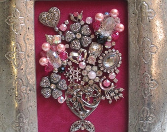 Jeweled Framed Jewelry Flower Bouquet Fuchsia Pink Silver Valentine