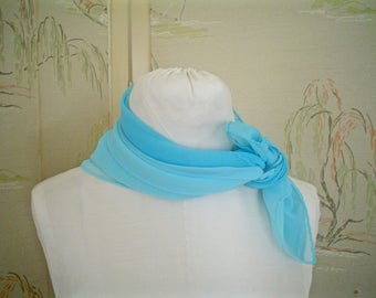 Two Vera Scarves Aqua Chiffon Large Square Scarves in Shades of Blue