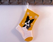 Boston Terrier Dog Personalized Christmas Stocking by Allenbrite Studio
