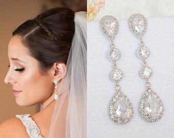Wedding Earrings, Bridal Earrings, Crystal Earrings, Teardrop Earrings, Bridal Stud Earrings, Long Dangle Earrings, Bridal Jewelry, HARLEY