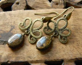 Beaded earrings swirl dangle earrings earthy drop earrings gift for her gemstone earrings brass earrings bohemian jewelry