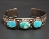 Turquoise Sterling Cuff Bracelet Signed GMP BaliSilver Filigree