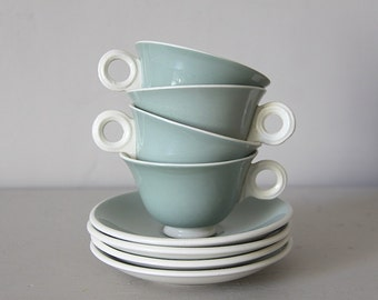 French Art Deco Digoin Cups and Saucers Art Deco Green Set of 4