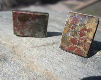 Vintage Polished Stone Cuff Links / Multi Colored Stone Cuff Links