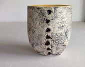 Cup Ceramic Pottery Yellow Black Cement Abstract 6oz. Kitchen Dish Art for Home Triangles