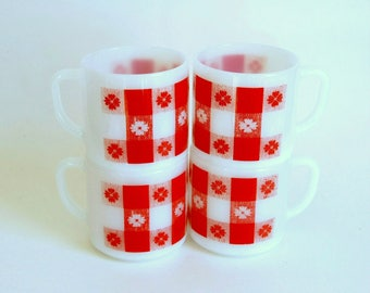 Vintage Coffee Mugs, Federal Milk Glass, Red Gingham Plaid, Coffee Mug Set of 4