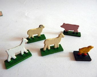 Vintage 5 Piece Erzgebirge Painted Wooden Toy Farm Scene Christmas Scene Putz Figures