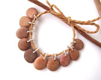 Rock Charms Small Pebble Jewelry Beads Mediterranean DIY Jewellery Beach Stone Natural Stone River Rock Beads Pairs PEACH MIX 13-15 mm