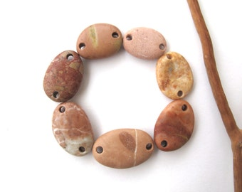 Rock Beads Rock Jewelry Connectors Mediterranean Beach Stone Links River Stone Beads PEACH n PINK LINKS 18-25 mm