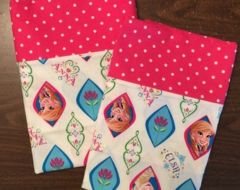 Frozen Pillow Case set with Anna and Elsa 100% cotton standard or queen available