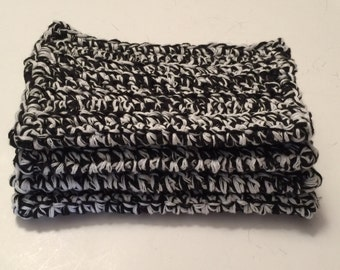 4 large dish cloths | dish rags | wash cloths made of 100% cotton yarn Black and white