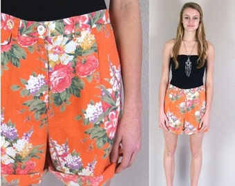 Sale sale vtg 90s orange RALPH LAUREN floral roses SHORTS pleated Medium linen high waist preppy grunge revival print