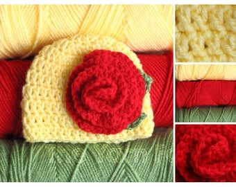 Newborn, Infant, Child, Adult Size Crochet Beanie with a Rosette