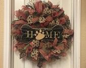 Dog Wreath, Burlap Wreath, Red Burlap Wreath, Black Burlap Wreath, Bone Wreath
