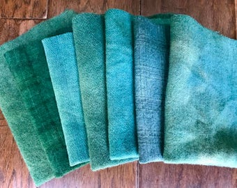 Hand Dyed Wool Fabric, 7 Mermaid's Tail Fat Eighths for Primitive Rug Hooking