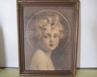 """Wall Art Baby Jesus """"Light of the World"""" by C. Bosseron Chambers Vintage Framed Ready to Hang Nursery Childs Room Decor"""