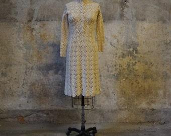Vintage 1970s crochet dress/ open work knit dress/ small