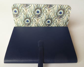 Leather Sketchbook Leather Journal. Dark Blue Grained Leather Lined with a Beautiful Peacock Feather Designed Paper Highlighted with Gold.