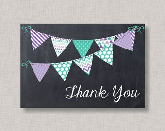 Thank You Card, Baby Shower Thank You Card, Birthday Thank You Card, BBQ Thank You Card, Baby Q Thank You Card, Bunting, Banner, Purple